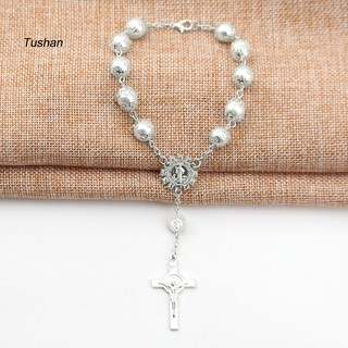 TUSH10mm Catholic Rosary Beaded Cross Charm Bracelet Bangle Religious Jewelry Gift