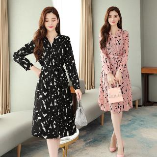 Chiffon Long Sleeve V-neck Korea Women Casual Bohemian Beach Dresses Floral Elegant Ladies Dress Knee-length Clothes