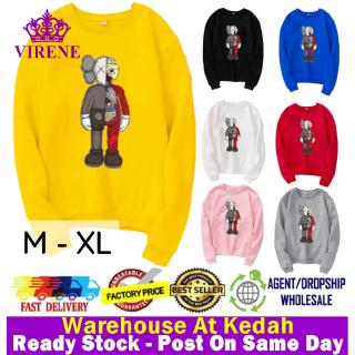 VIRENE KAWS Sweater Hoodies Shirt KAWS Men Women Long Sleeve Sweater Hoodies Top【M - XL】7 Colors Ready Stock 322271