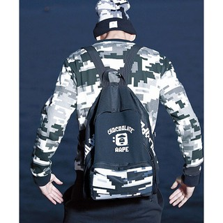 AAPE X Chocoolate A Bathing Ape Bape Moon Face Digital Camo Backpack Bag