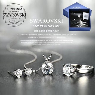 [100% Original] Swarovski x Mabarri Zirconia Crystal Gemstones 3 in 1 Jewellery Necklace Ring Earrings Women Ladies