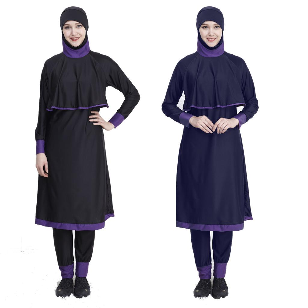 Free gift 【ready stock 】  Bella Bakini Burkini Muslimah Bikini Swimsuit Swimwear Swimming Set Black  Plus Size  4XL