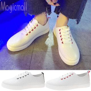 Hot saleღWomen Casual Sneakers Solid Color Lace Up Student Hollow Breathable White ShoesWomen Casual Sneakers Solid