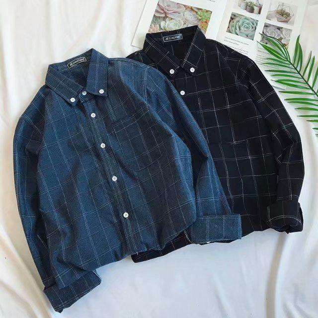 San Literature Plaid Shirt Cotton Linen Youth Loose Men's Long-sleeved Shirt
