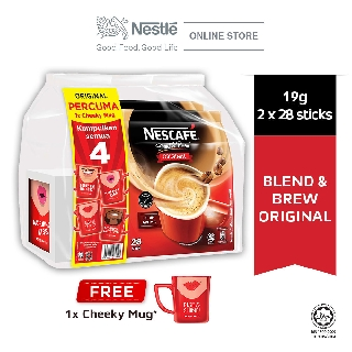 Nescafe Blend & Brew Original 28 Sticks, Buy 2 Free CHEEKY MUG (Random Design)