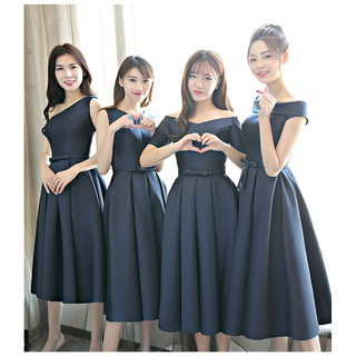 Evening dress in the long section Navy blue bridesmaid dress sister skirt Slim g
