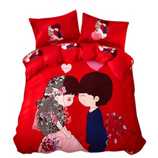 Web celebrity ins princess marry red hair 4 is on a bed sheet bedding bag students fitted covered times