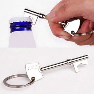 Creative Metal Key Shaped Beer Cap Lifter Bottle Opener Key Chain Ring Keychain