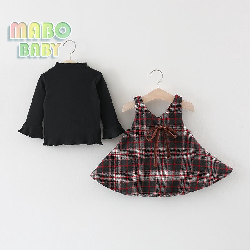 Girls Skirt Suit Two Kits of Retro Chequered Back Belt Skirt for Infants and Young Children