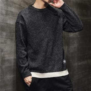 New Men's Casual Pullover Knitted Sweater Autumn Men's Loose Round Collar Teenagers Sweaters