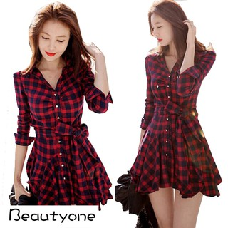 Retro Long Sleeve Red Plaid Lapel V Neck Shirt Belted Dress