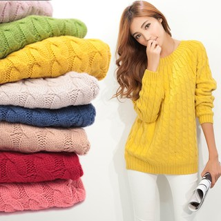 Women Tops Pullovers Long sleeve V-neck Twist Knitted Long Blouse Sweater