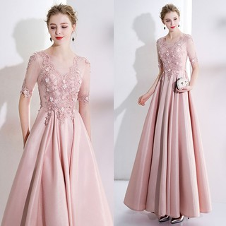 Blush Pink Half Sleeve A-Line Evening Gown
