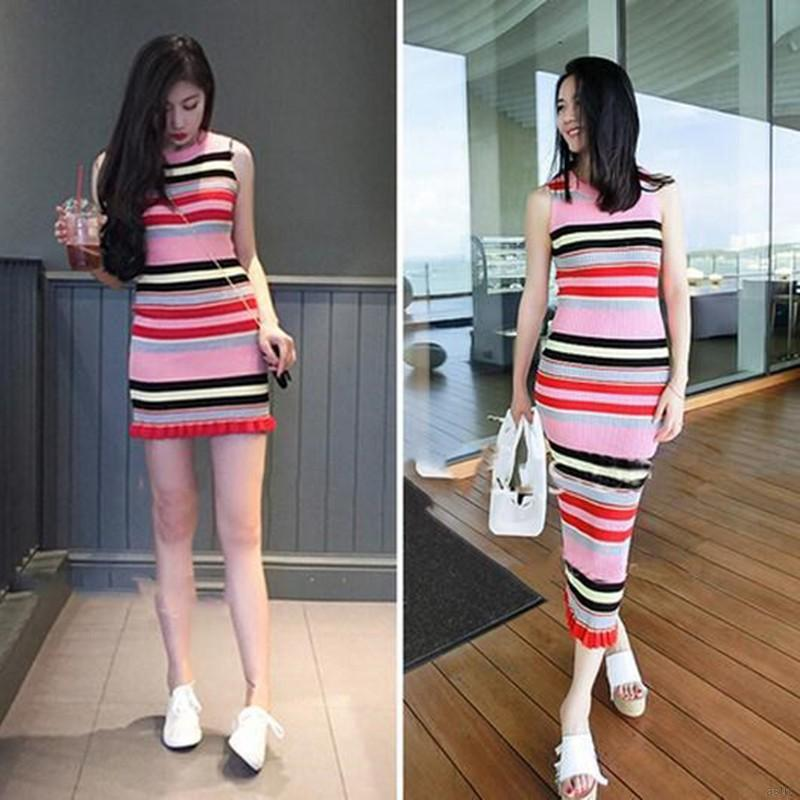 Fashion Women 's O Neck Bodycon Striped Pattern Knitted Sleeveless Dress