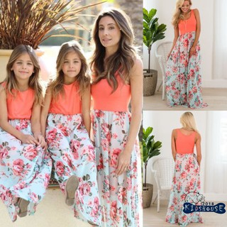 HU.-Mother and Daughter Summer Boho Floral Long Maxi Dress Family Matching