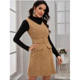 tank express pocket summer eBay spring trade top Foreign and solid color new corduroy patchwork dress