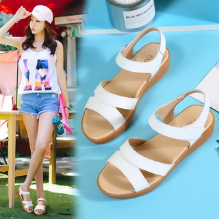 Ready Stock Women Sandals Flat Shoes Summer Soft Leather Leisure Ladies Sandals