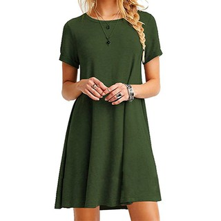 Shopee amazon Europe and the United States big yards pure color dress with short sleeves wish hot style ebay new sel