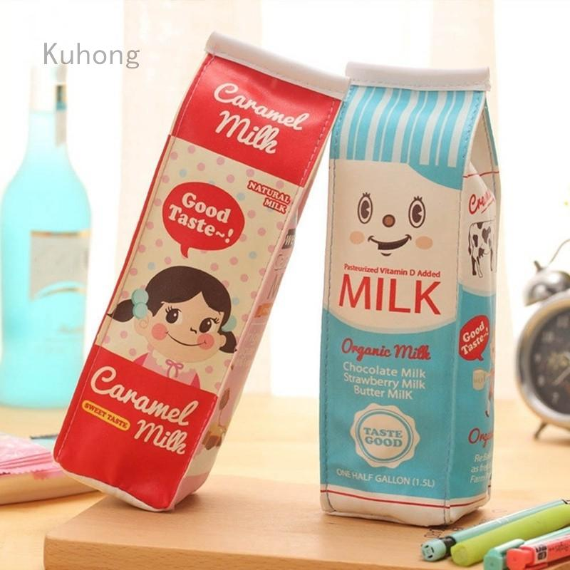 Kuhong Cute Cartons Simulation Milk Box Pencil Case Pu Pen Bag Coin Purse Pencil Case