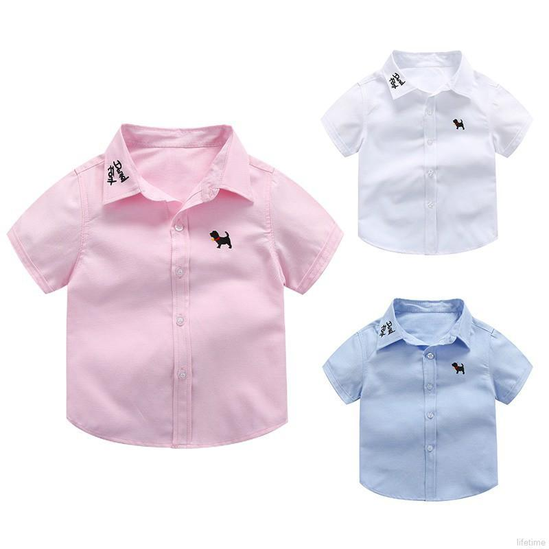 Summer Baby Boys Shirt Cute Puppy Embroidery Casual Short Sleeve Cotton Clothes