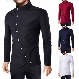 Online Men Irregular Shirts Long Sleeve Luxury Casual  Slim Fit Stylish Button Qinga