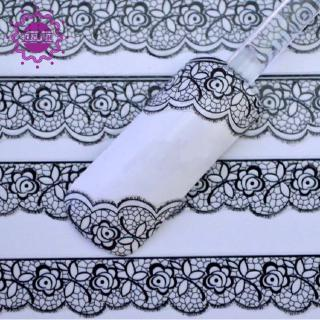 1 Sheet Fashion 3D Black Lace Design Nail Art Stickers Decals For Nail Tips Decor Manicure Tool