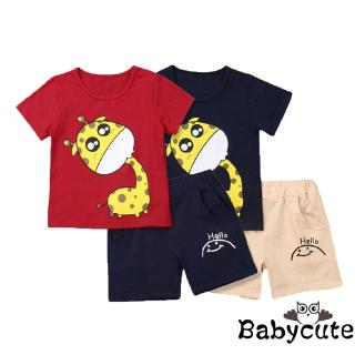 B-BNewborn Baby Boy Kids Giraffe Print Tops T-shirt + Shorts Outfit Clothes
