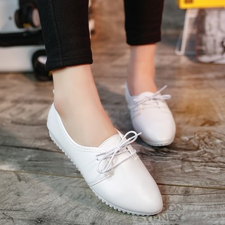 The new 2019 white shoe female leisure soft PiDouDou lace-up shoes with flat students work