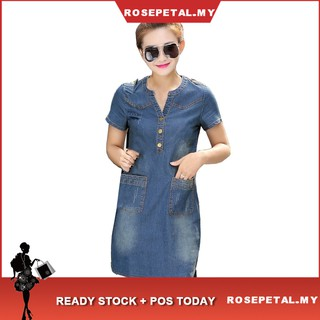 Women Plus Size Summer Mini Sexy Hip Denim Dress