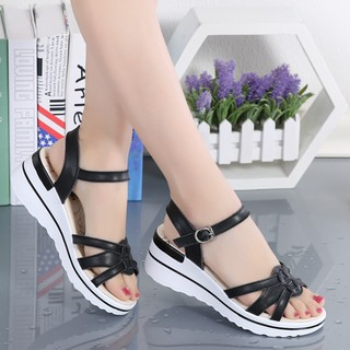 2019 Summer New leather thick bottom slope with Sandals female Korean version casual heel muffin mom