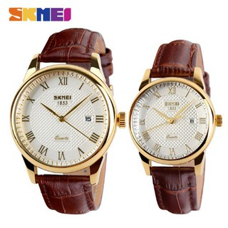 SKMEI Local 9058 Original Waterproof fashion  Luxury  Business Couple Watch