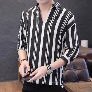 New Summer Fashion Contrast Color Vertical Stripe V-neck Half-sleeve Chiffon Ice Silk Shirt Men