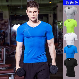 Men's V-neck Fitness Running Sports Quick-drying T-shirt clothes