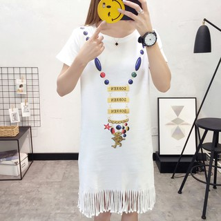Medium-length fringed dress loose and slim with short sleeves