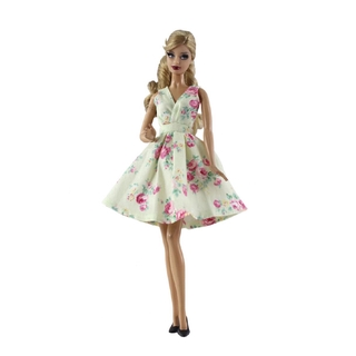 Fashion Barbie Doll Clothes Outfits Dollhouse Vestidoes Yellow Flower Floral Barbie Doll Dress 1/6 Doll Accessories