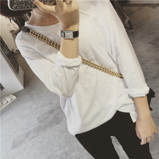 plus size■Autumn new white female round neck long sleeve T-shirt bamboo cotton shirt joker render unlined upper garm