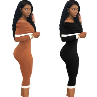 Women Sexy Off Shoulder Pencil Dress Lady Bodycon Slim Party Dress Long Sleeve