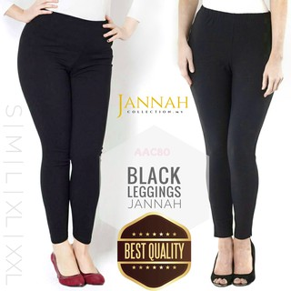 LEGGINGS TOP QUALITY WOMEN BLACK READY STOCK STRETCHABLE AAC80