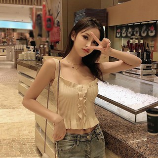 Knitted Crop Top Slim Tees Knit Ruffles Streetwear Women's Sexy Tank Casual Loose Blouse