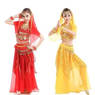 Kids Girls  Belly Dance Skirt Bollywood Dancing Dress Performance Competition Indian Cloth Set