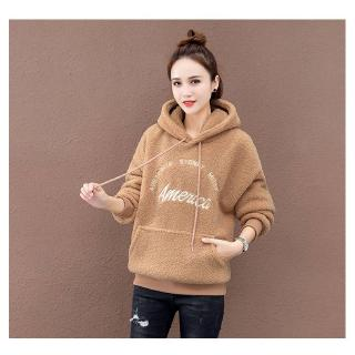 Plus velvet imitation lamb wool sweater women autumn and winter new Korean loose hooded warm top