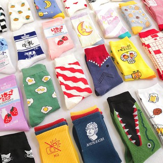High Quality Fashion Harajuku Kawaii Happy Socks Women milk Food painting Strawberry Animal Print Funny Socks Cute Socks