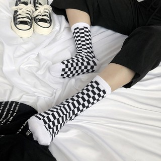 Korea Harajuku Trend Women Checkerboard Socks Geometric Checkered Socks Men Hip Hop Cotton Unisex Streetwear Socks