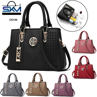 SKM Women Ladies Handbag Tote Bags Top-Handle Bags With Long Belt CS 136