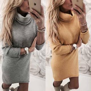 Autumu Winter Fashion Long Sleeve Knitted Sweater casual Turtle Neck Straight Office Dress