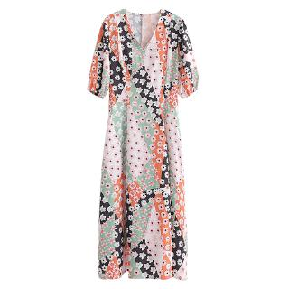 Printed V-neck dress for vacation, windy beach dress