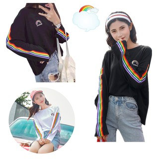 Autumn Harajuku Style Women Loose Rainbow Letter Embroidery Long Sleeve T-shirt