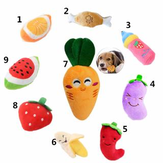 Dog Toys Pet Puppy Chew Squeaker Plush Sound Fruits Vegetables Feeding Bottle Toys