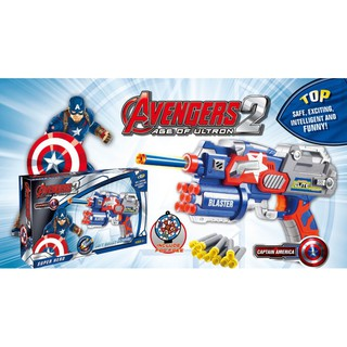 [T-013] Avengers Captain Spiderman Iron Man The Hulk Soft Bullet Blaster Toy Gun