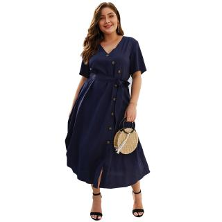 Plus Size 4XL Dresses Women Fashion Short Sleeve Bow Tie Maxi Solid Dress